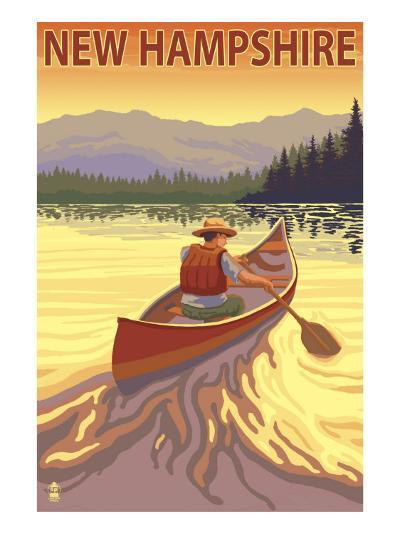 New Hampshire - Canoe Scene-Lantern Press-Art Print