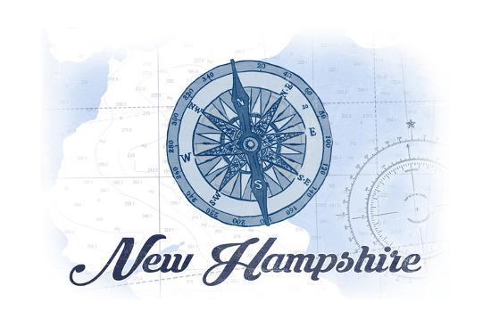 New Hampshire - Compass - Blue - Coastal Icon-Lantern Press-Art Print