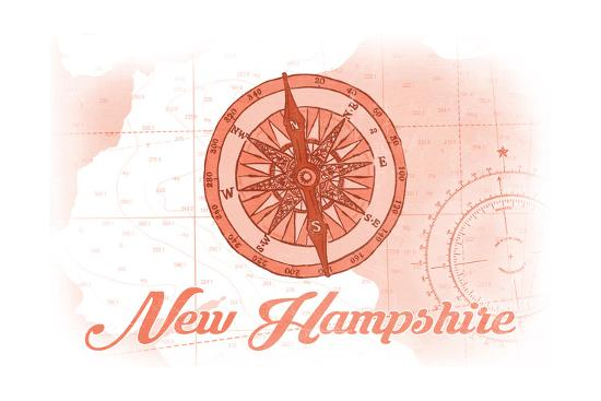 New Hampshire - Compass - Coral - Coastal Icon-Lantern Press-Art Print