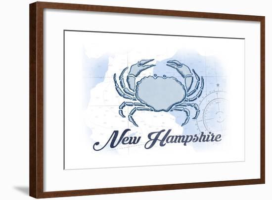 New Hampshire - Crab - Blue - Coastal Icon-Lantern Press-Framed Art Print
