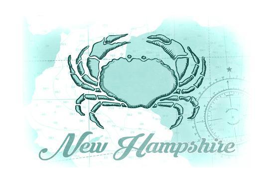 New Hampshire - Crab - Teal - Coastal Icon-Lantern Press-Art Print