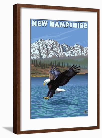 New Hampshire - Eagle Fishing-Lantern Press-Framed Art Print