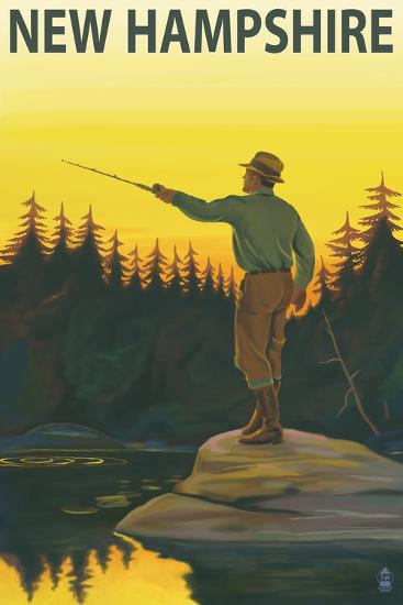 New Hampshire - Fisherman-Lantern Press-Wall Mural