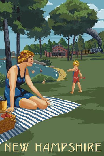 New Hampshire - Lake and Picnic Scene-Lantern Press-Art Print