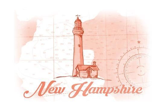New Hampshire - Lighthouse - Coral - Coastal Icon-Lantern Press-Art Print