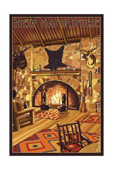 New Hampshire - Lodge Interior-Lantern Press-Art Print