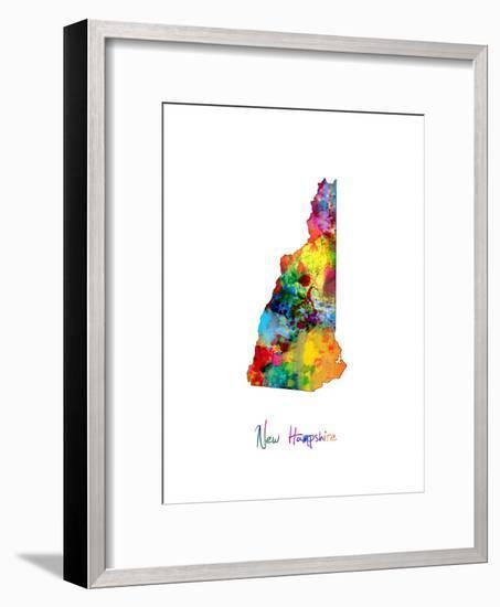 New Hampshire Map-Michael Tompsett-Framed Art Print