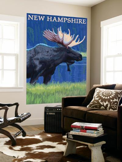 New Hampshire - Moose in the Moonlight-Lantern Press-Wall Mural