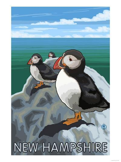 New Hampshire - Puffins Scene-Lantern Press-Art Print