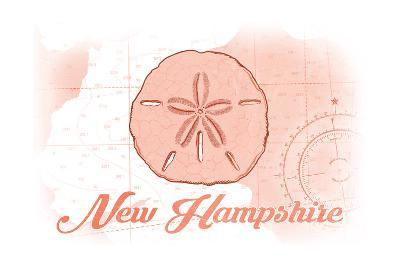 New Hampshire - Sand Dollar - Coral - Coastal Icon-Lantern Press-Art Print