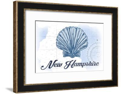 New Hampshire - Scallop Shell - Blue - Coastal Icon-Lantern Press-Framed Art Print