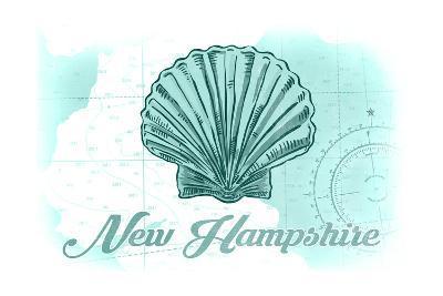 New Hampshire - Scallop Shell - Teal - Coastal Icon-Lantern Press-Art Print