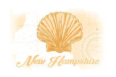 New Hampshire - Scallop Shell - Yellow - Coastal Icon-Lantern Press-Art Print