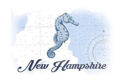 New Hampshire - Seahorse - Blue - Coastal Icon-Lantern Press-Art Print