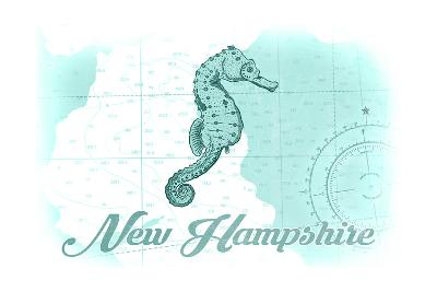 New Hampshire - Seahorse - Teal - Coastal Icon-Lantern Press-Art Print