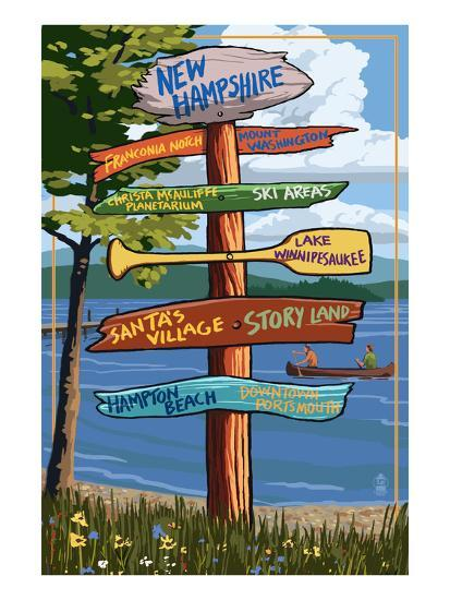 New Hampshire - Sign Destinations-Lantern Press-Art Print