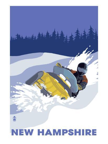 New Hampshire, Snowmobile Scene-Lantern Press-Art Print