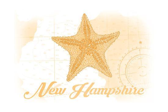 New Hampshire - Starfish - Yellow - Coastal Icon-Lantern Press-Art Print