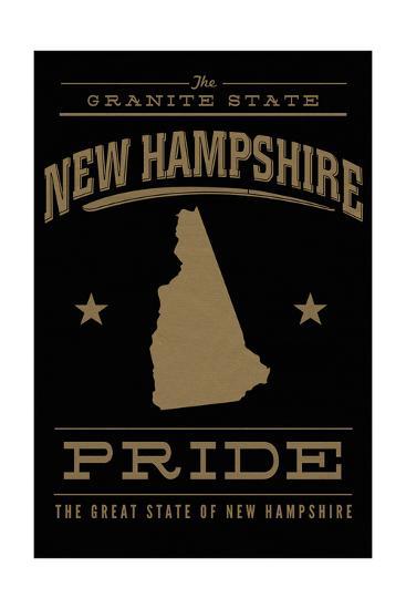 New Hampshire State Pride - Gold on Black-Lantern Press-Art Print