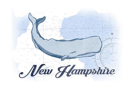 New Hampshire - Whale - Blue - Coastal Icon-Lantern Press-Art Print