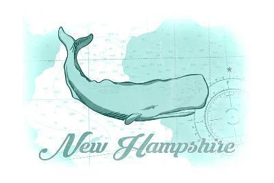 New Hampshire - Whale - Teal - Coastal Icon-Lantern Press-Art Print
