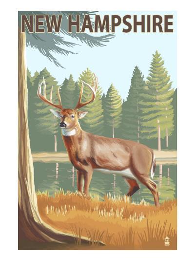 New Hampshire - White-Tailed Deer-Lantern Press-Art Print