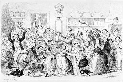 New Harmony - All Owin' - No Payin', 1845-George Cruikshank-Giclee Print