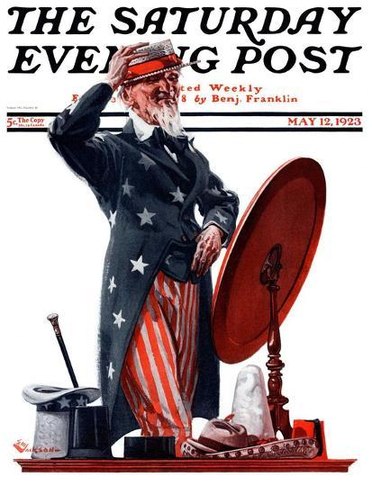 """""""New Hat for Uncle Sam,"""" Saturday Evening Post Cover, May 12, 1923-Elbert Mcgran Jackson-Giclee Print"""