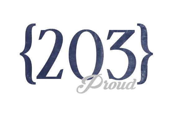 New Haven, Connecticut - 203 Area Code (Blue)-Lantern Press-Art Print
