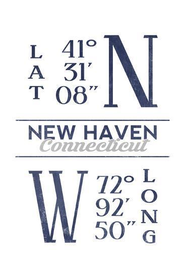 New Haven, Connecticut - Latitude and Longitude (Blue)-Lantern Press-Art Print