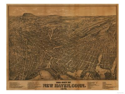New Haven, Connecticut - Panoramic Map-Lantern Press-Art Print