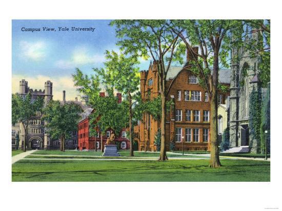 New Haven, Connecticut - Yale University Campus View-Lantern Press-Art Print