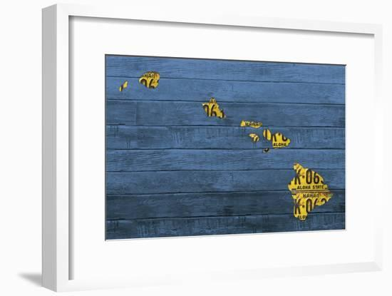 New Hawaii Map-Design Turnpike-Framed Giclee Print