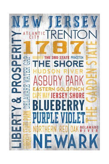 New Jersey - Barnwood Typography-Lantern Press-Art Print