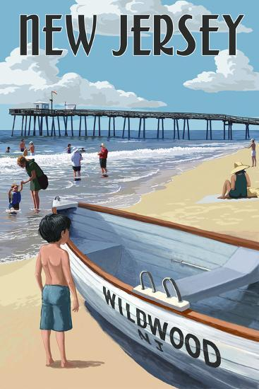 New Jersey - Lifeboat and Pier-Lantern Press-Wall Mural
