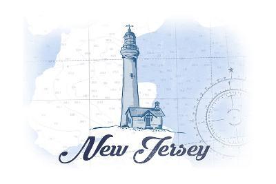 New Jersey - Lighthouse - Blue - Coastal Icon-Lantern Press-Art Print