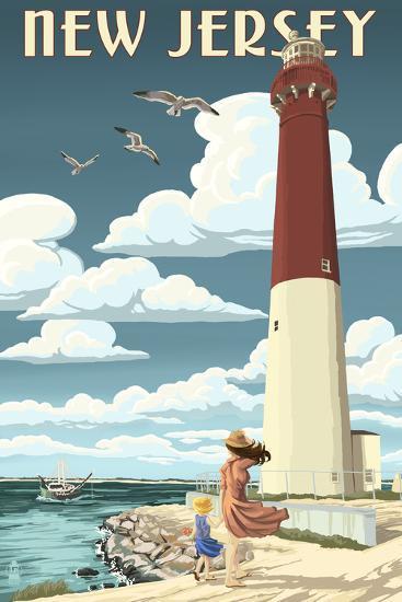 New Jersey - Lighthouse Scene-Lantern Press-Art Print