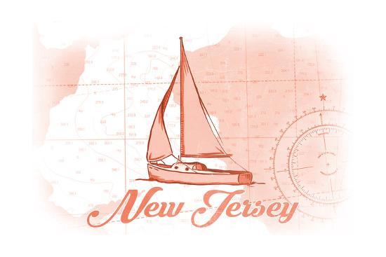 New Jersey - Sailboat - Coral - Coastal Icon-Lantern Press-Art Print