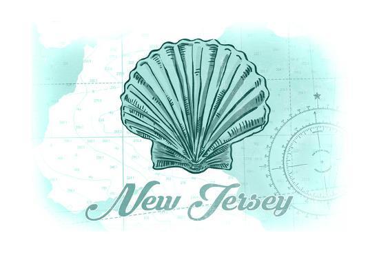 New Jersey - Scallop Shell - Teal - Coastal Icon-Lantern Press-Art Print