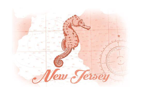 New Jersey - Seahorse - Coral - Coastal Icon-Lantern Press-Art Print