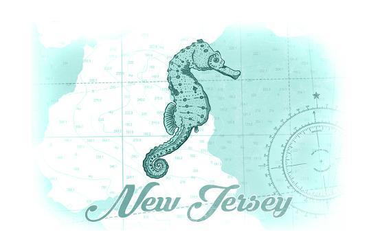 New Jersey - Seahorse - Teal - Coastal Icon-Lantern Press-Art Print
