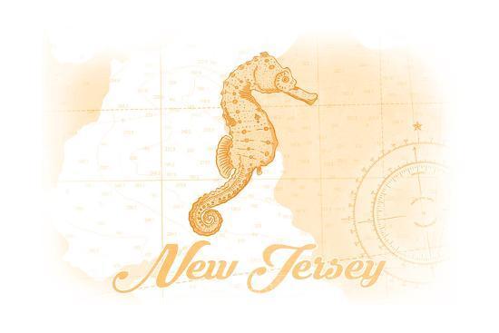 New Jersey - Seahorse - Yellow - Coastal Icon-Lantern Press-Art Print