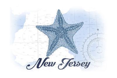 New Jersey - Starfish - Blue - Coastal Icon-Lantern Press-Art Print