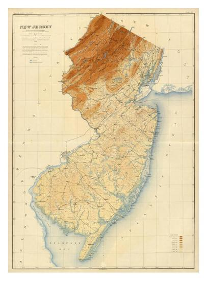 New Jersey State Map C 1888 Art Print By Art Com