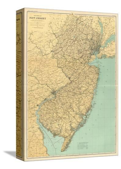 New Jersey State Map, c.1888 Stretched Canvas Print by | Art.com