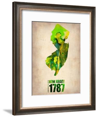 New Jersey Watercolor Map-NaxArt-Framed Art Print