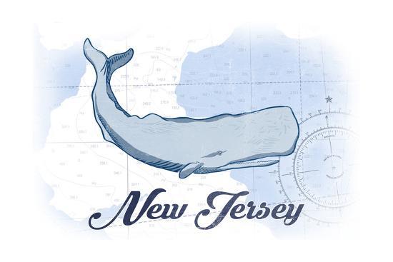 New Jersey - Whale - Blue - Coastal Icon-Lantern Press-Art Print