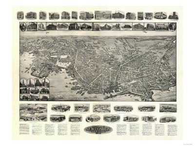 New London, Connecticut - Panoramic Map-Lantern Press-Art Print