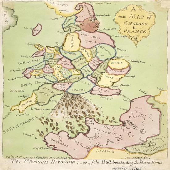 New Map of England and France, the French Invasion, 1793 Giclee Print by  James Gillray | Art.com