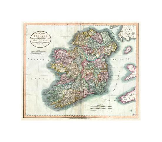 Print Map Of Ireland.New Map Of Ireland Giclee Print By Bill Cannon Art Com